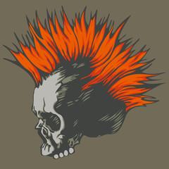 vector illustration with punk skull