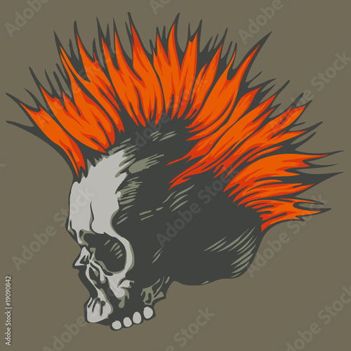 vector illustration with punk skull