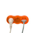 Sokets with inserted power plugs poster