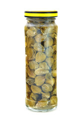 Marinated capers isolated on the white background
