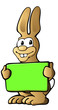 cartoon Osterhase mit Schild