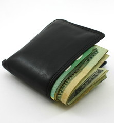 Folder wallet, packed with cash, white background