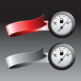 gas icon red and gray ribbons poster