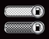 gas icon silver and black checkered banners poster