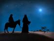 Leinwanddruck Bild - Bethlehem Christmas. Star in night sky above Mary and Joseph