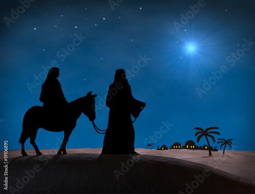 Leinwanddruck Bild Bethlehem Christmas. Star in night sky above Mary and Joseph