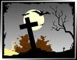 Illustration of Halloween with cross