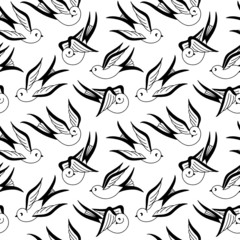 Songbird Seamless Pattern Black and White