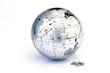 Globe puzzle isolated on white