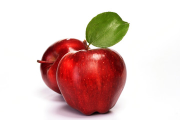 Red delicious apples on white