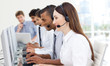 A diverse business group in a call center