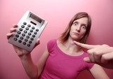 Broke - Portrait of a young woman holding a calculator, pointing poster