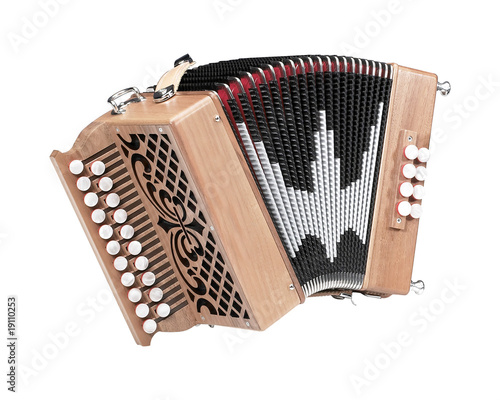A wooden small diatonic accordion - 19110253