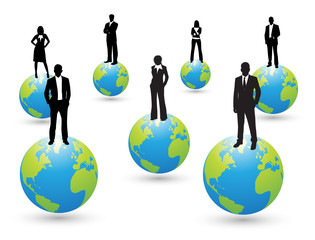 Business people and globe