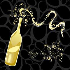 Sfondo Happy New Year con bottiglia spumeggiante