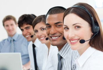 International customer service agents with headset on
