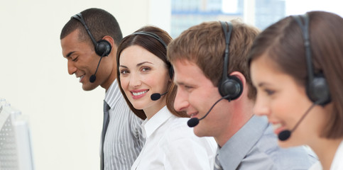 Young business people with headset on