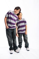 Happy brothers smiling isolated