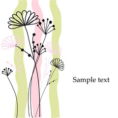 Floral greeting card. Vector.