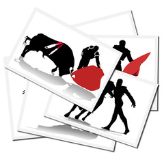 Collection of illustrations with a bullfighter in action, spain