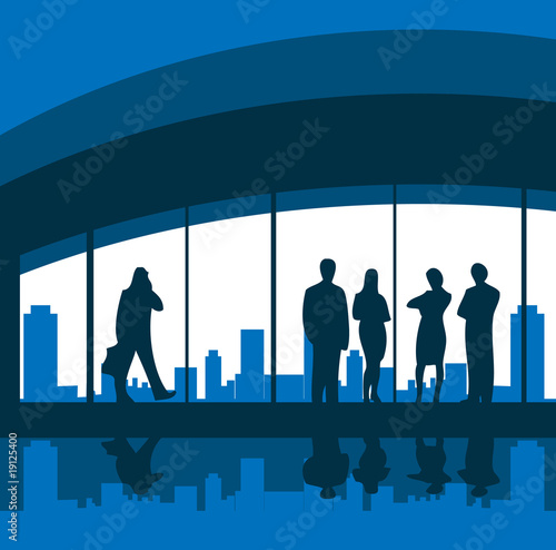 Business people, team background, city skyline, office card, pos