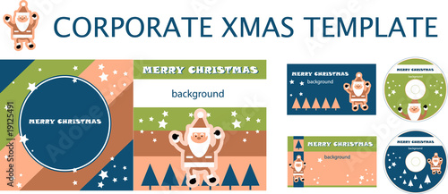 Corporate christmas presentation, report template. Santa backgro
