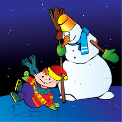 Boy ice skater with snowman.  Happy childhood.