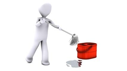 pulizia con mocio