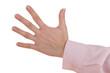 Frauenhand zeigt Handzeichen Zahl Fünf