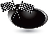 checkered flags silver swoosh poster