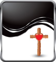 heart and cross black wave background