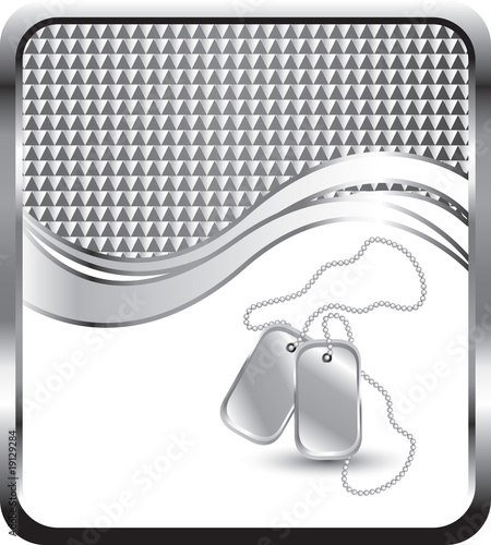 dog tags silver checkered wave background