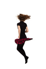Girl jumping, dancing isolated on white background