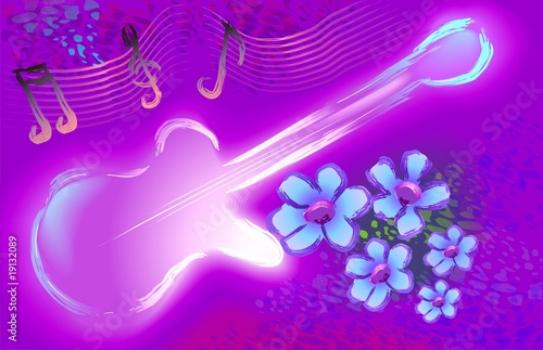 Digital painting of violin  in colour background