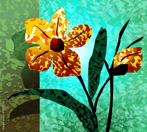 Digital painting of flower in colour background
