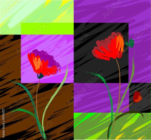 Digital   painting  of  plant and flower