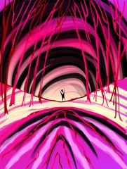 Digital   painting  of   man inside tunnel