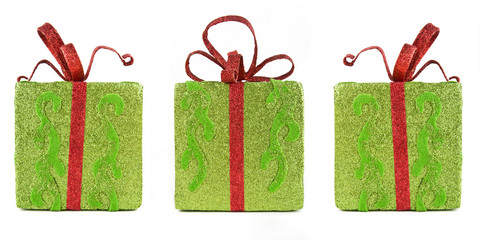 Three sparkling gift boxes for Christmas