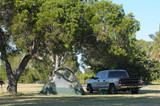 Tent and truck on a campsite in Florida, USA poster