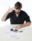 Man looking suicidal about his financial situation poster