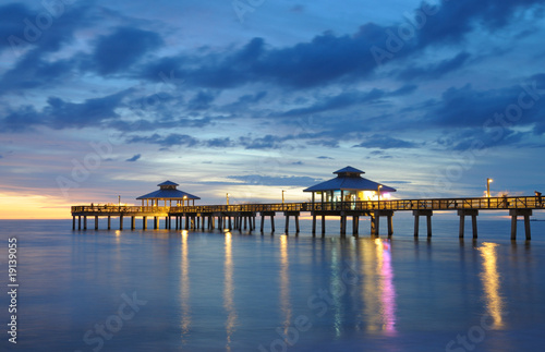 Fort Myers Pier at Sunset, Florida USA - 19139055