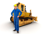 Workman and bulldozer poster