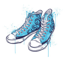 Hand-drawn colored sneakers