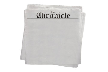 blank newspaper The Chronicle (clipping path included)