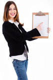 Business women pointing on a blank clip board