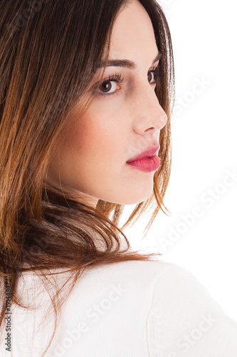 closeup shot of young fashion model side pose