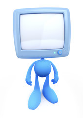 TV-Man. Cartoon man with the TV-Head. 3D rendered image