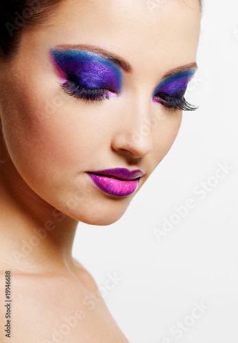 female face with bright beauty fashion make-up