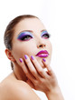 fashion maodel face with bright stylish make-up