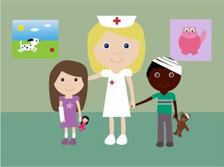 Pediatric nurse with 2 injured children